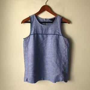 J. Crew sleeveless blue linen top