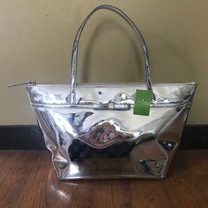 Kate Spade Camellia Sophie MetallicSilver Tote Bag