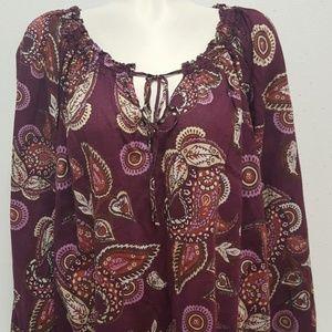 Merona Plus Size 2 Long Sleeve Paisley Blouse