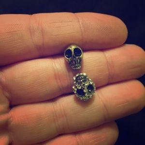 NWOT Brass Adjustable Bling Skull Ring