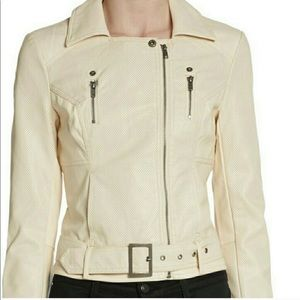 NWOT French Connection Cream Faux Leather Jacket
