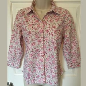 Eddie Bauer LS BD Shirt Cute Paisley Pattern Pink