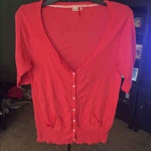 Coral Red Cardigan Sweater