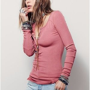 Free People Megs Ribbed Tee Washed Red