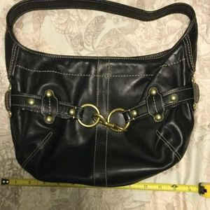 Coach small black leather bag