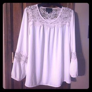 Size XL Cream Lace Blouse by Cynthia Rowley