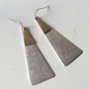Jewelry - Long Matte Silver and Gold Earrings