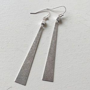 Jewelry - Long Matte Silver Triangular Earrings
