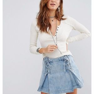 Free People Megs Ribbed Tee Wheat