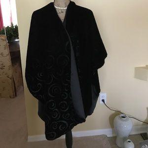 Black velvet and Satin shawl