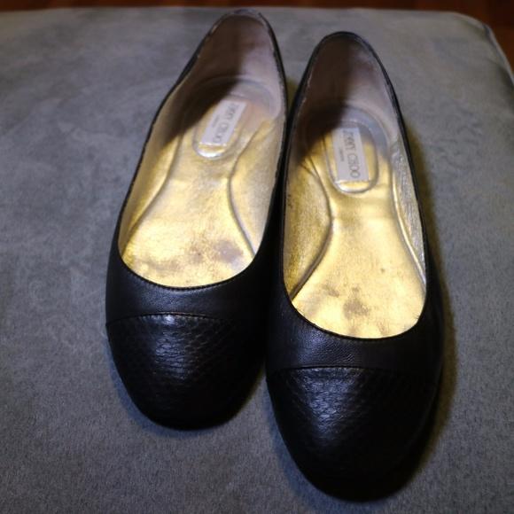 469f017929d5 Jimmy Choo Shoes - Jimmy Choo Whirl black leather ballet flats 39 1 2