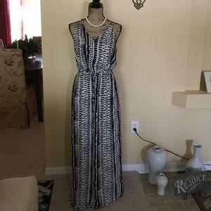 Black gray and off white sleeveless dress