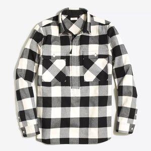 J. Crew thick flannel Popover black white Sz s