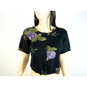 Vintage Cotton Knitted Cropped Tee w/Purple Roses