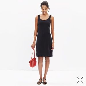 Black silk Madewell dress with bow back detail