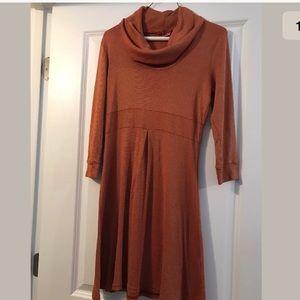 Michael Stars Fall Orange Metallic cowl neck dress