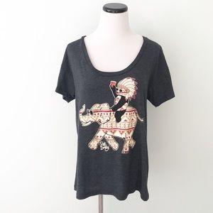 RIOT SOCIETY Gray native elephant T-Shirt