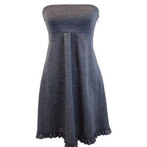 J Crew Gray Strapless Dress Ruffle Trim Size 4