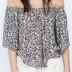 Zara NWT off the shoulder floral top XS
