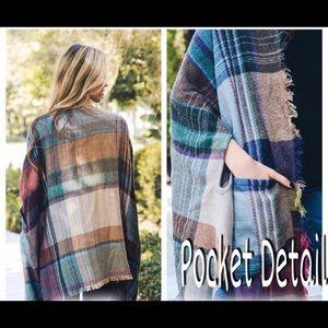 Aluna Levi Jackets & Coats - Comfy Plaid Poncho