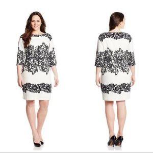 Adrianna Papell 14W Dress Cream Black Lace Print