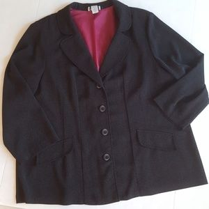 Avenue Black Blazer with white stitching