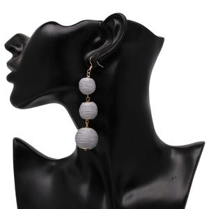 Boho Gray Bon Bon Ball Crispin Statement Earrings