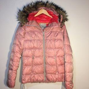 Eddie Bauer Goose Down Coat with Fur Hood
