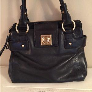 Banana Republic black leather satchel! EUC