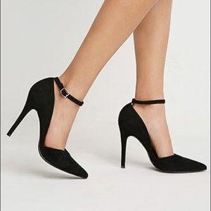 Black Suede Ankle Strap Pumps