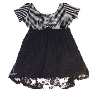 Torrid black lace striped babydoll tunic top