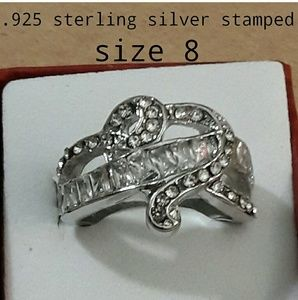 .925 sterling silver stamped heart ring