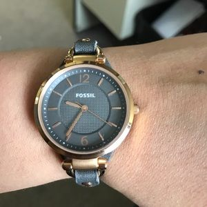 Fossil grey leather with rose gold trim