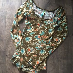 Free People Anthro Olive Floral Thermal Top