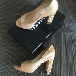 Chanel Nude Pumps With Cork Heel 38 7.5