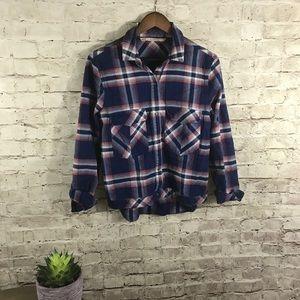 Zara flannel plaided button down shirt