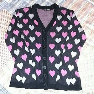 Hot Topic Hearts button up cardigan