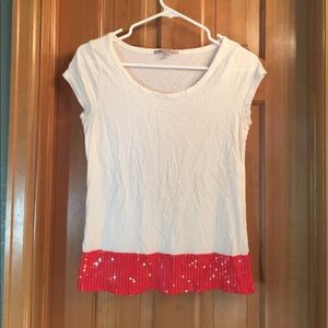 Gap White Shirt with Red Sequin Detail
