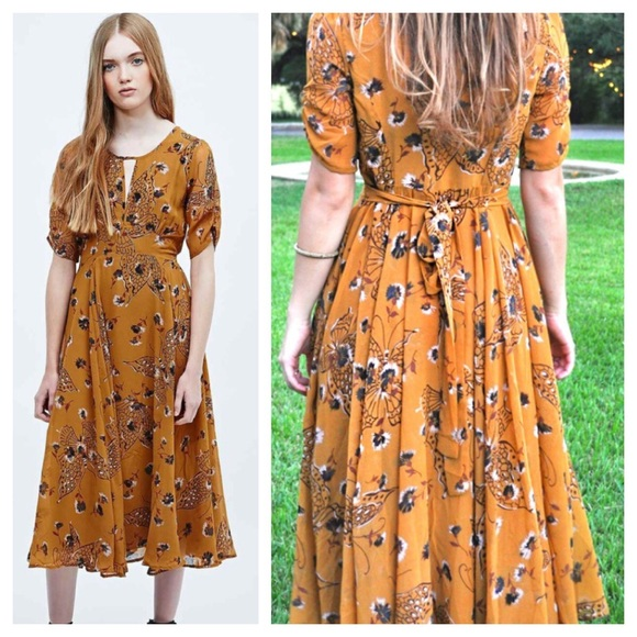 fbd96193fe00 Free People Dresses   Skirts - Free People Bonnie Butterfly Floral Maxi  Dress