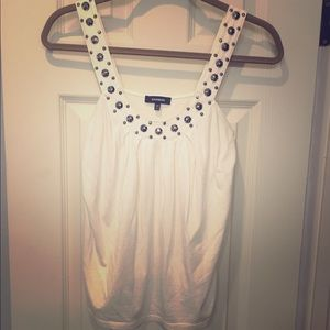 Off white top with pewter studs