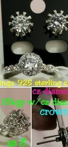 Earrings and ring crown set
