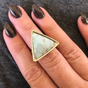 ~geometric~ turquoise gold triangle ring size 6