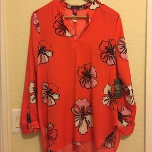 Vince camuto tunic blouse , orange red