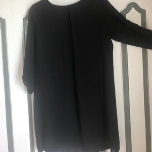 Black H&M zip up sleeved pleated shift dress