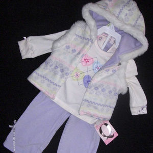 Baby Q 3-Pc Set Corduroy Pants, Fleece Vest Shirt