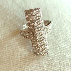~glam~ absolute diamond silver filigree ring sz 5