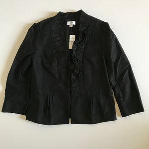 Ann Taylor LOFT Women's Black Ruffle Blazer Sz 10