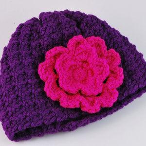 Handmade Crochet Purple Pink Flower Infant Hat