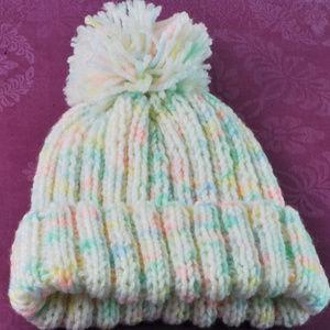 Handmade Knit Baby Hat Unisex White w/Blue/Green/P
