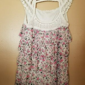 Lace Floral Ruffled Tank Top Size Small